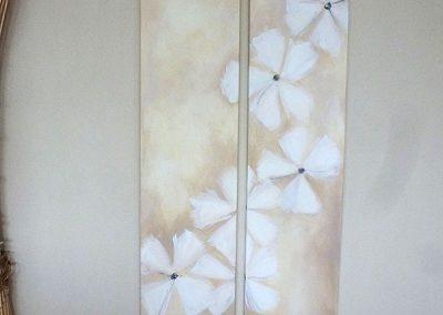 weiße blumenranke 2x 30x150